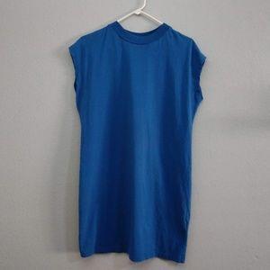 Small Blue Sleeveless Crew Neck Basic Dress Mini
